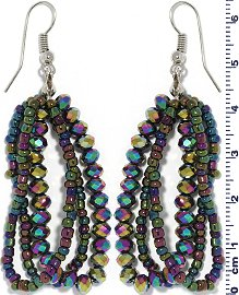 Crystal Bead Earring Aura Green Purple Gold Ger667