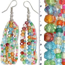 Crystal Bead Earring Multi Color Turquoise Green Ger673