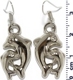 Dolphin and Child Dangle Earrings Plastic Silver Tone Ger682