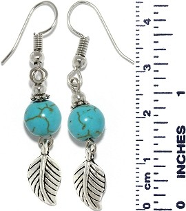 Turquoise Bead Feather Dangle Earrings Silver Tone Alloy Ger688