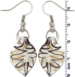 Glass Earrings Leaf White Gold Dark Purple Ger694