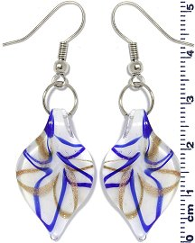 Glass Earrings Leaf White Gold Blue Ger698
