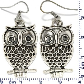 Metallic Owl Dangle Earrings Branch Black Silver Gray Ger703