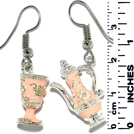 Earrings Teapot Cup Metallic Silver Peach Tone Ger708