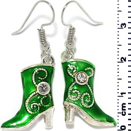 Lady's Western Cowboy Boots Dangle Earrings Green Alloy Ger709