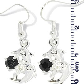 Rhinestone Earrings Dolphin Silver Black Ger714