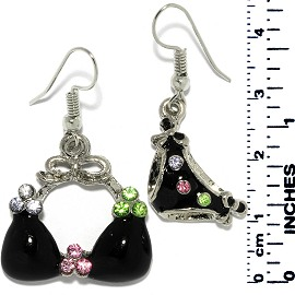 Obsidian Earrings Cross Rhinestone Silver Ger717