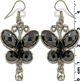 Obsidian Earrings Butterfly Rhinestone Silver Ger718