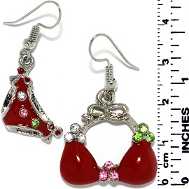 Earrings Women's Bathing Suit Rhinestones Silver Red Tone Ger721