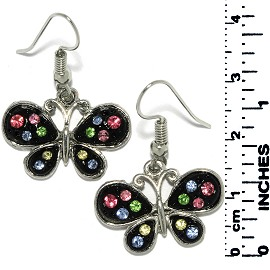 Earrings Butterfly Rhinestones Metallic Silver Black Tone Ger722