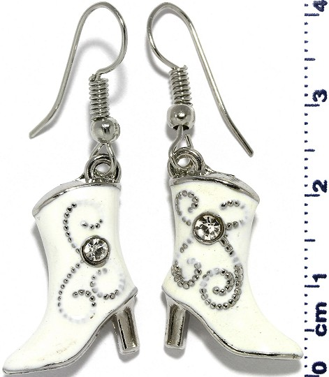 Ladies Woman Boots Heels Rhinestone Earrings White Ger723