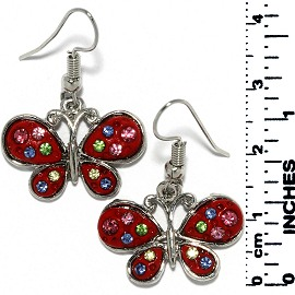 Earrings Butterfly Rhinestones Metallic Silver Red Tone Ger725