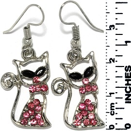 Earrings Cat Rhinestones Metallic Silver Pink Tone Ger729