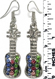 Earrings Guitar Rhinestones Metallic Silver Blue Green Ger730