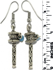 Earrings Mexican Maracas Metallic Silver Black Tone Ger732