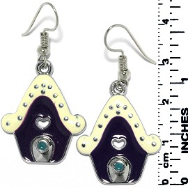 Earrings Gingerbread House Metallic Silver Ivory Purple Ger733