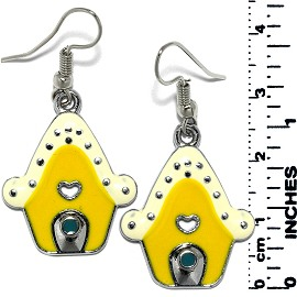 Earrings Gingerbread House Metallic Silver Ivory Yellow Ger734