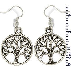 Metallic Earrings Circle Tree of Life Silver Ger735