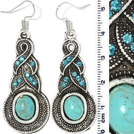 Earth Stone Rhinestone Earrings Tear Turquoise Silver Ger738