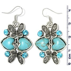Earth Stone Earrings Heart Butterfly Turquoise Silver Ger740