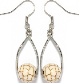 Stone Earrings Earth Cream Beads GER741