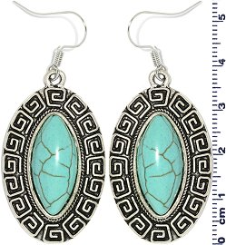 Earth Stone Earrings Oval Turquoise Silver Ger742