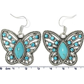 Earth Stone Rhinestone Earring Butterfly Turquoise Silver Ger743