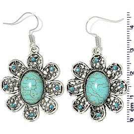 Earth Stone Earrings Oval Flower Turquoise Silver Ger746