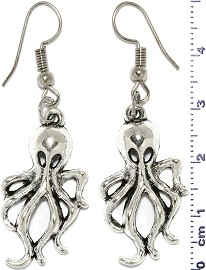Metallic Earrings Octopus Silver Tone Alloy Ger748