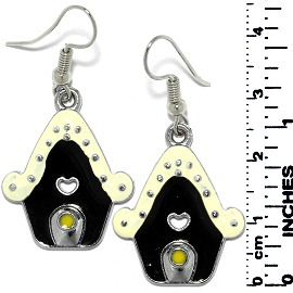 Earrings Gingerbread House Metallic Silver Ivory Black Ger750