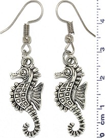 Metallic Earrings Seahorse Silver Tone Alloy Ger751