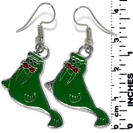 Earrings Walrus Metallic Silver Green Tone Ger752