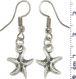 Metallic Earrings Starfish Nautical Silver Tone Alloy Ger757