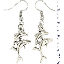 Dolphin Parent Child Metallic Earrings Silver Tone Ger762