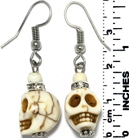 Earrings Human Skull Silver Ivory White Tone Ger769