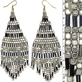 Dangle Earrings Cube Beads Tubes Silver Gold Black Gray Ger772