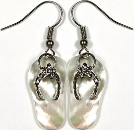 Abalone Earrings Flip Flops Silver White Cream Ger775