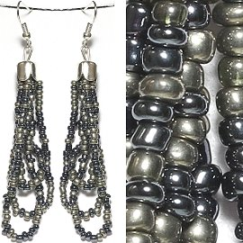 Seed Bead Earrings Black Gray Ger776