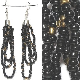 Seed Bead Earrings Black Gold Ger778