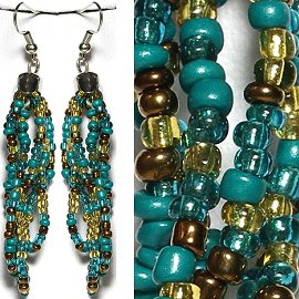 Seed Bead Earrings Turquoise Teal Bronze Gold Ger779