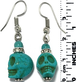 Earrings Human Skull Silver Turquoise Tone Ger781