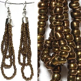 Seed Bead Earrings Bronze Dark Antique Gold Ger782