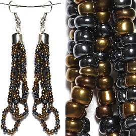 Seed Bead Earrings Bronze Dark Antique Gold Black Ger783