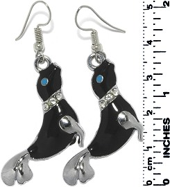 Earrings Seal Rhinestones Metallic Silver Black Tone Eye Ger786