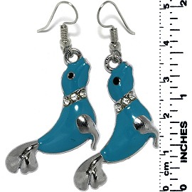 Earrings Seal Rhinestones Metallic Silver Turquoise Tone Ger789