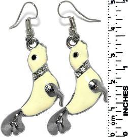 Earrings Seal Rhinestones Metallic Silver Ivory Whit Tone Ger791