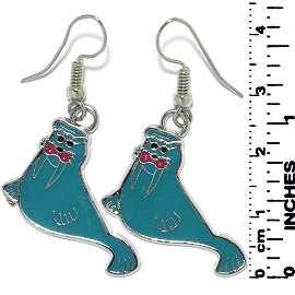 Earrings Walrus Metallic Silver Turquoise Tone Ger792