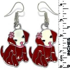 Earrings Puppy Dog Sitting Metallic Silver Red Tone Ger795