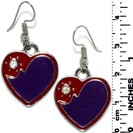 Earrings Heart Metallic Silver Red Purple Tone Ger797