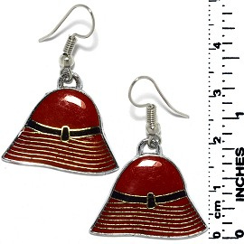 Earrings Lady's Hat Metallic Silver Red Gold Black Tone Ger799